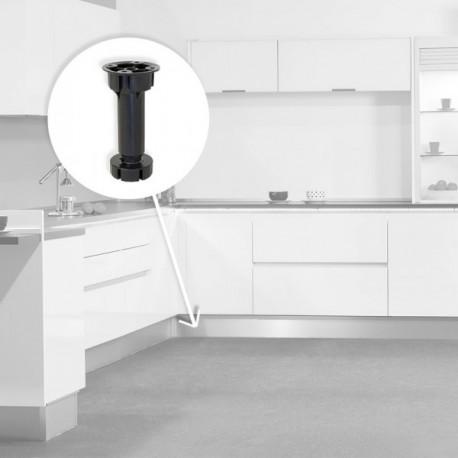 Pie nivelador Bone con base premontada para mueble (H 100 mm) Negro