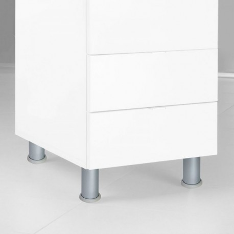 Pie nivelador para mueble D. 40 mm, Aluminio (diam: 40 x 140 mm) Satinado