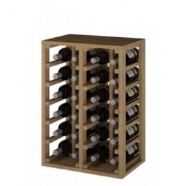 BOTELLERO DE MADERA DE PINO para 24 Botellas color Pino oscuro GODELLO