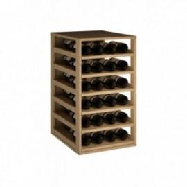 BOTELLERO MADERA DE PINO, BALDAS EXTRAIBLES para 42 Botellas color Pino Roble claro GODELLO