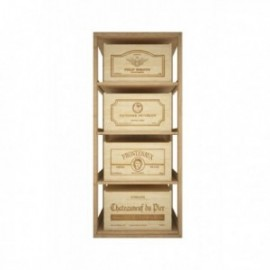 MUEBLE PARA CAJAS DE 12 BOTELLAS para 4 Cajas color Pino oscuro GODELLO