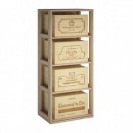 MUEBLE MADERA DE PINO PARA CAJAS DE VINO DE 6 BOTELLAS para 4 Cajas color Roble Natural GODELLO
