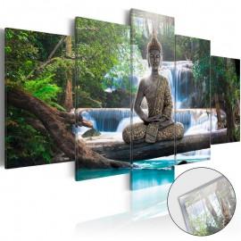 Quadro acrílico - Buddha and Waterfall [Glass]