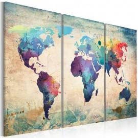 Quadro - Arco-íris em tons de mapa - tríptico
