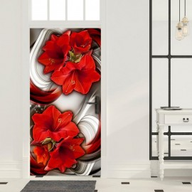 Fotomural para porta - Photo wallpaper - Abstraction and red flowers I