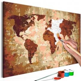 Quadro pintado por você - World Map (Earth Colours)