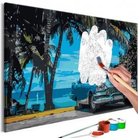 Cuadro para colorear - Car under Palm Trees