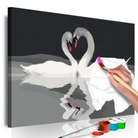 Cuadro para colorear - Pareja de cisnes