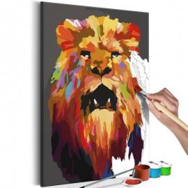 Cuadro para colorear - León de colores