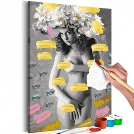 Cuadro para colorear - Naked Woman With Flowers