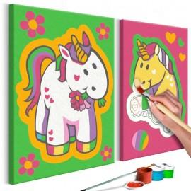Cuadro para colorear - Unicornios (en verde y rosa)