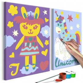Quadro pintado por você - Rabbit & Unicorn