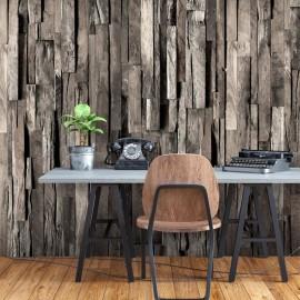 Papel de parede autocolante - Wooden Curtain (Dark Brown)