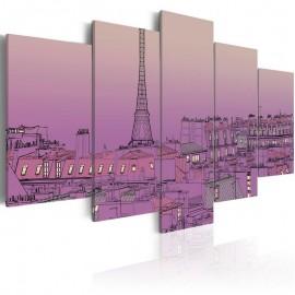 Cuadro - El amanecer a París de color lavanda