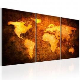 Cuadro - Mapa del mundode color metal oxidado