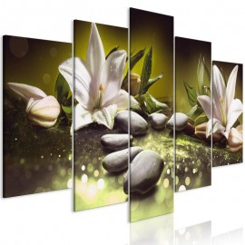Cuadro - Lilies and Stones (5 Parts) Wide Green