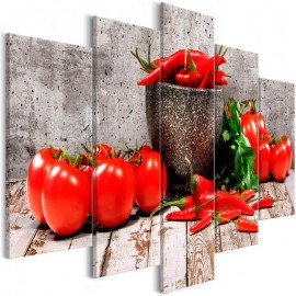 Cuadro - Red Vegetables (5 Parts) Concrete Wide