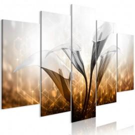 Quadro - Floral Quartet (5 Parts) Wide Golden