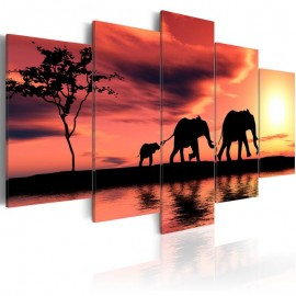 Cuadro - Familia de elefantes africanos