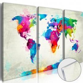 Cuadro acrílico - World Map: An Explosion of Colours [Glass]