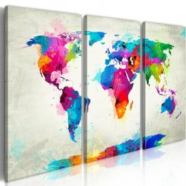 Cuadro - World Map: An Explosion of Colors