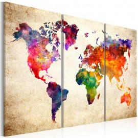Cuadro - The World's Map in Watercolor