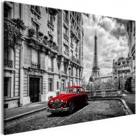 Quadro - Car in Paris (1 Part) Red Wide