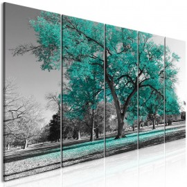 Cuadro - Autumn in the Park (5 Parts) Narrow Turquoise