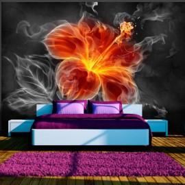 Fotomural - Flor ardiente en medio de humo