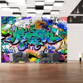 Fotomural - Graffiti: blue theme