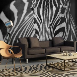 Fotomural - Blanco con rayas negras