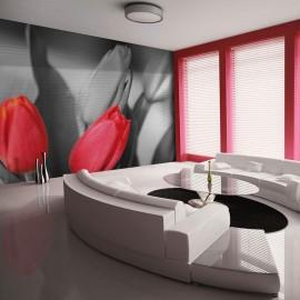 Fotomural - Tulipas vermelhas sobre fundo preto e branco