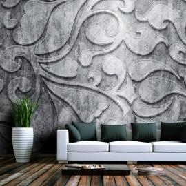Fotomural - Fundo de prata com teste padrão floral