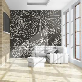 Fotomural - Fundo preto e branco floral