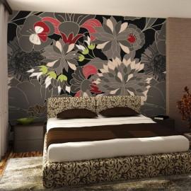 Fotomural - floral design - gray