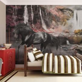 Fotomural - Cavalo preto por uma cachoeira