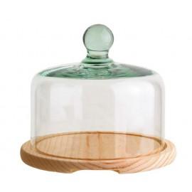 Quesera campana de cristal y base de madera