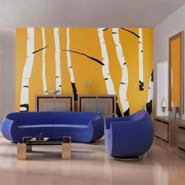 Fotomural - Birches on the orange background