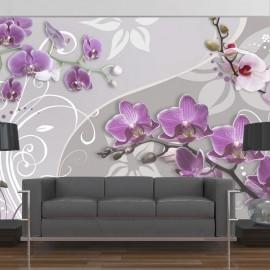 Fotomural - Vuelo de orquídeas púrpura