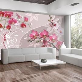 Fotomural - Vuelo de orquídeas rosadas