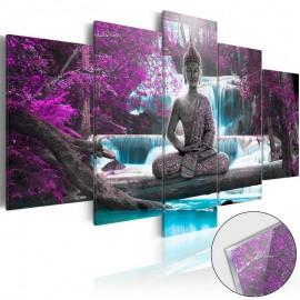 Quadro acrílico - Waterfall and Buddha [Glass]