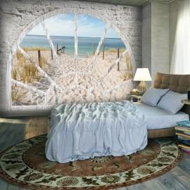 Fotomural autoadhesivo - Window View - Beach