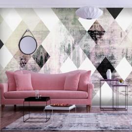 Fotomural autoadhesivo - Rhombic Chessboard (Pink)