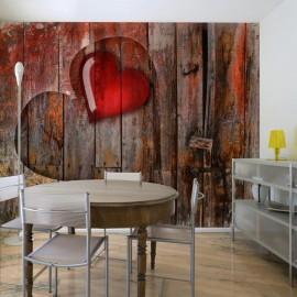 Fotomural - Coração no fundo de madeira