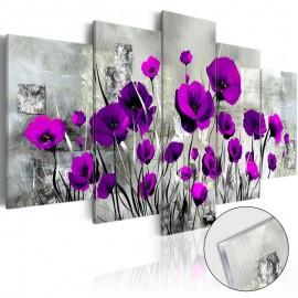 Quadro acrílico - Meadow: Purple Poppies [Glass]