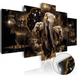 Quadro acrílico - Brown Elephants [Glass]