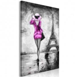 Quadro - Parisian Woman (1 Part) Vertical Pink