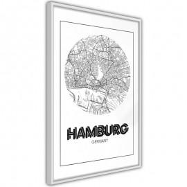 Pôster - City Map: Hamburg (Round)