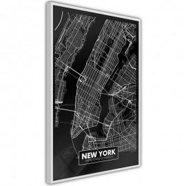 Pôster - City Map: New York (Dark)