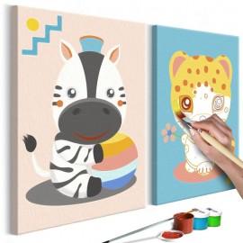Quadro pintado por você - Zebra & Leopard
